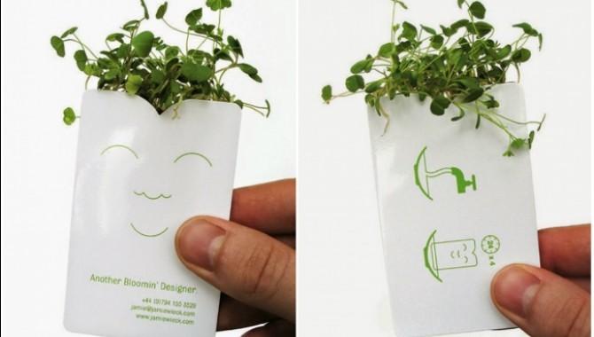 Това е визитка на ландскейп дизайнер. Ако я поставите във вода, от нея ще израсте трева.-568_1