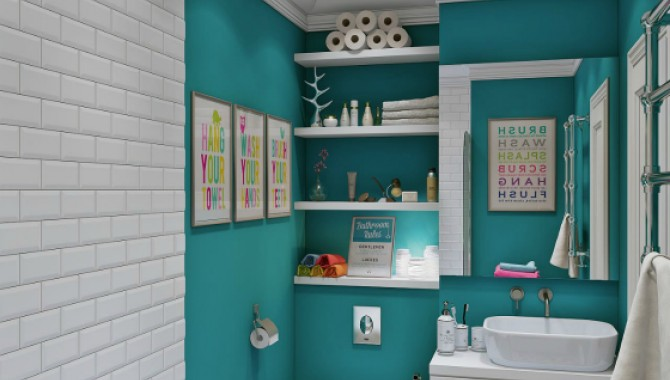 2. Свежи цветове. Уютна баня, оформера в два цвята. Разполага с класическа вана, открити лавици и ярки плакати. Така помещението става интересно и динамично. -596_2