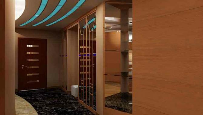 2. Внимание към детайлите. Неголям коридор, оформен в кафяв цвят. Шкафът е голям и вграден. Подът и таванът са с оригинален дизайн. -601_2