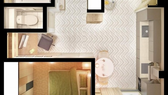 Апартамент, в който спалнята е на мястото на кухнята-604_8