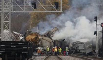 В САЩ катастрофира влак с химикали