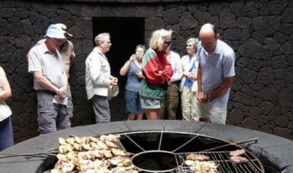 Испански ресторант готви на действащ вулкан