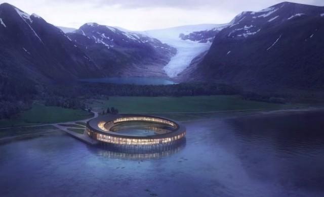 Този пръстеновиден хотел ще се излегне във водите на фиорд
