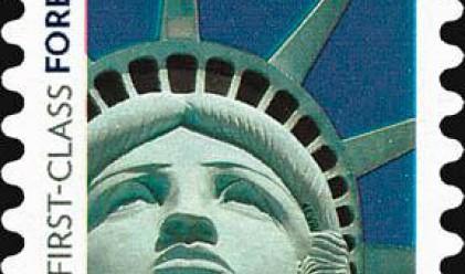 Гаф на пощите в САЩ с марка с лика на Стауята на свободата