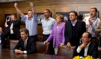 Световни лидери гледат футбол