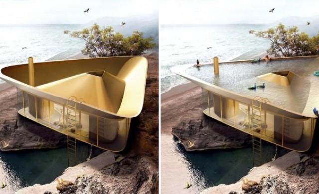 Две в едно: Покривът на тази къща се превръща в басейн
