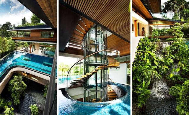 Уникална къща, в която доминират водата и растенията
