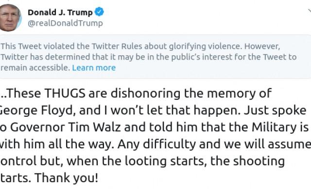 Twitter цензурира изказване на Доналд Тръмп