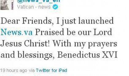 Папата пусна първото си съобщение в Twitter