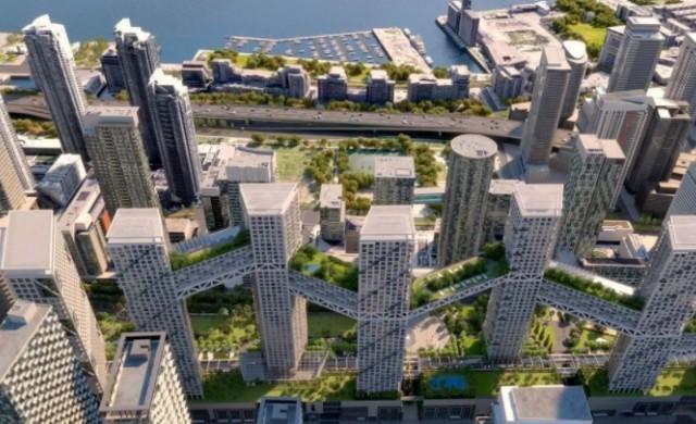 Мини град в небето в Торонто: Девет кули, свързани с мостове (снимки)