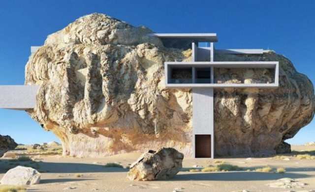 """""""Къща в скала"""" - преплитането на камък и модерен бетон"""