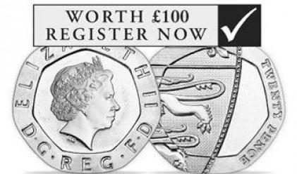 Грешка върху 20-пенсова монета качи цената й 500 пъти