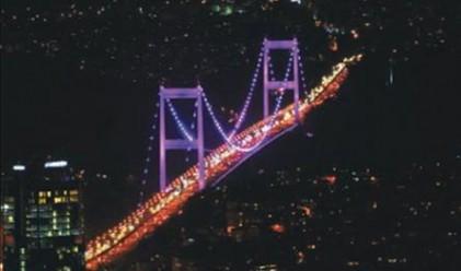 Мостът над Босфора в Истанбул светва в розово