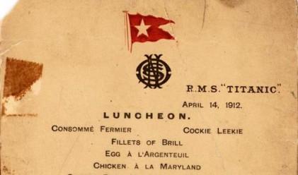 Продадоха последното обедно меню на Титаник за 88 000 долара