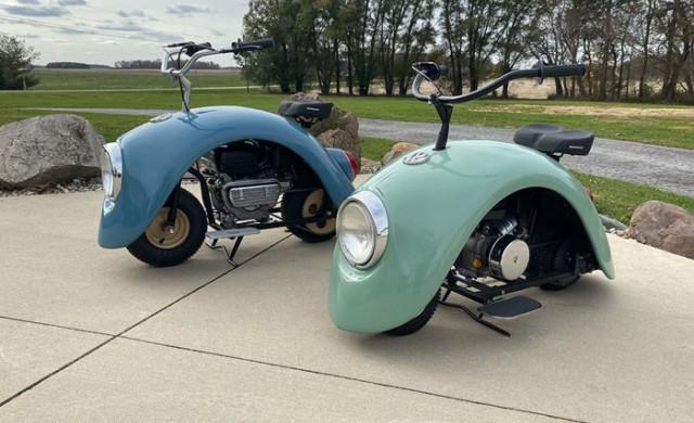 Мъж превърна калници от Volkswagen Beetle в невероятен мотоциклет