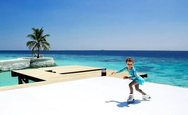 Хотел на Малдивите предлага ледена пързалка на тропически плаж